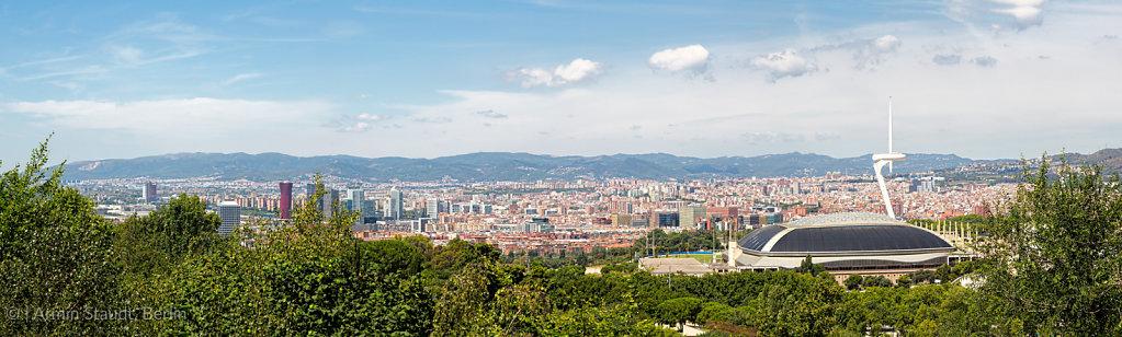 panorama of barcelona with olympic stadium