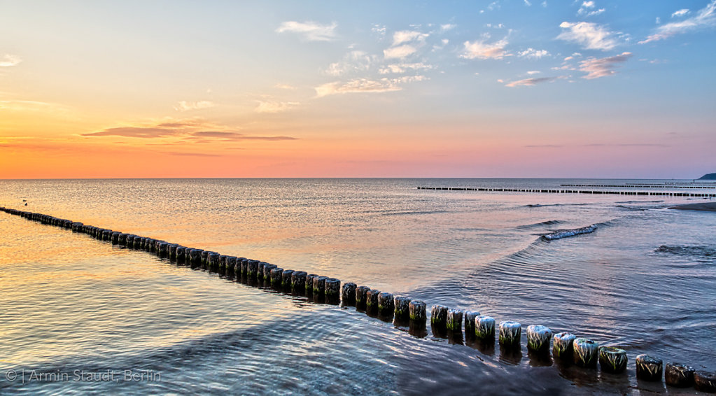 HDR shot of Hiddensee ocean landscape at evening