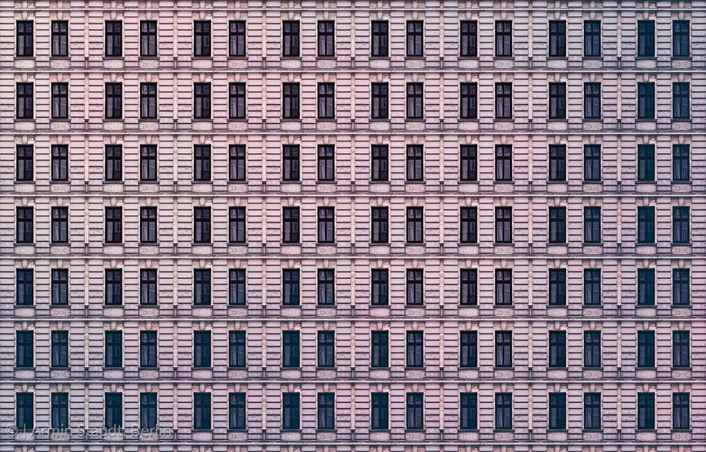 architectural pattern, window facade of an old miserable berlin house