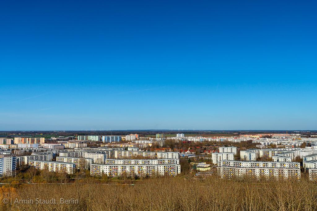 social housing in Berlin Marzahn with clear blue sky