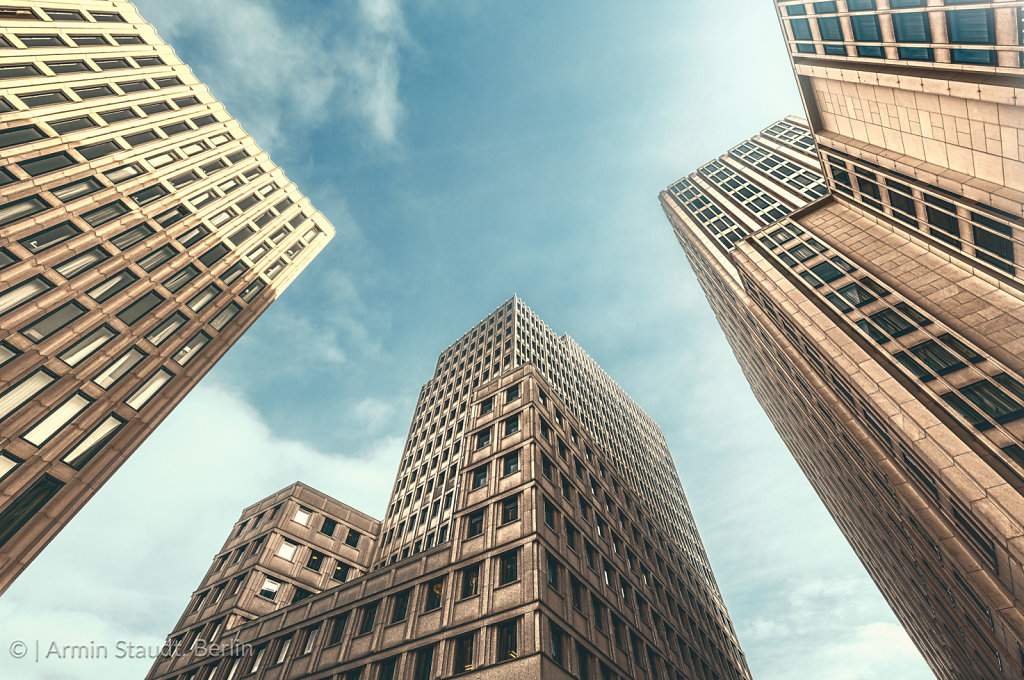vintage style skyscrapers with backlight
